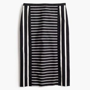 J. Crew No. 2 Pencil Mixed Stripe Black Midi Skirt